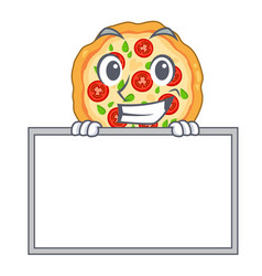 Grinning with board margherita pizza in a cartoon vector
