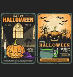 Halloween witch hat black cat pumpkins and bats vector