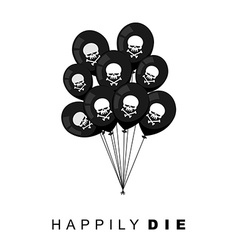 Happily Die Set of Black balloons for funeral vector