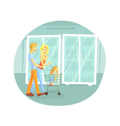 happy family shopping in supermarket cheerful vector image