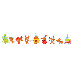 horizontal banner with christmas dogs vector image