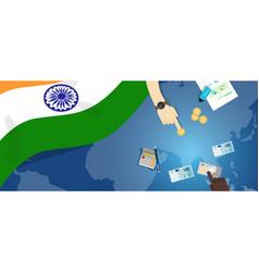 India economy fiscal money trade concept vector