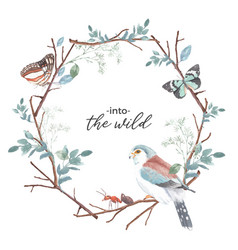 Insect and bird wreath design with butterfly ant vector