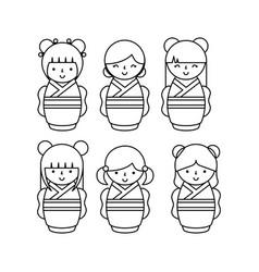 Japanese girls design vector