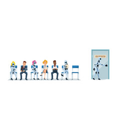 job interview recruiting and robots vector image
