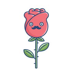 Kawaii funny mustache rose flower vector