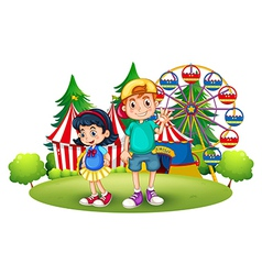 Kids in front of the carnival vector image vector image