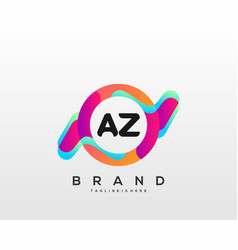 Letter az initial logo with colorful vector