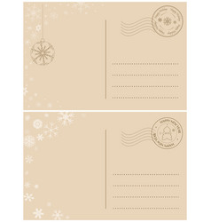 light brown postcards for winter holidays vector image