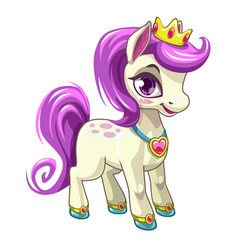 little cute cartoon pony princess pretty horse vector image