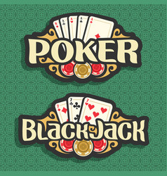 Logo poker and blackjack vector
