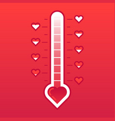 Love thermometer hot or frozen heart temperature vector