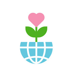 love tree on globe or planet earth icon flat vector image
