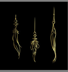 Luxury hand drawn golden feathers isolated vector