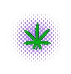 Marijuana leaf icon comics style vector