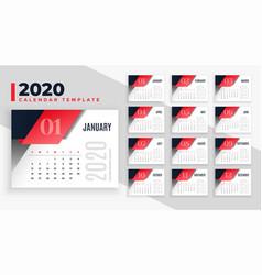 Modern 2020 calendar design layout template vector