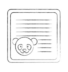 Monochrome blurred card with male panda head vector