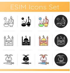 Muslim holidays icons set vector
