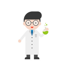 nerd glasses scientist and flask set profession vector image