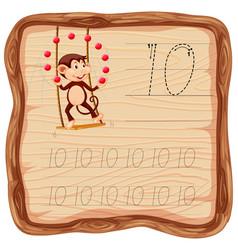 Number ten tracing alphabet worksheets vector