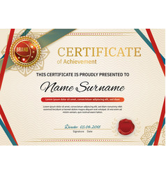 official retro certificate with red gold design vector image