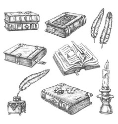 old rarity books writer vintage ink quill feather vector image