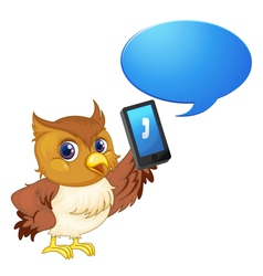 Owl with cell phone vector