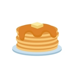 Pancakes with fresh blueberries and maple syrup vector
