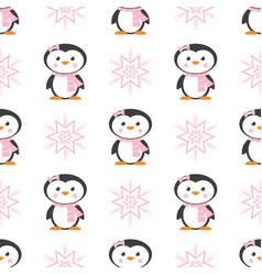 pattern with penguin and snowflake vector image