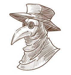 Plague doctor mask medieval death symbol isolated vector