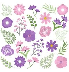 Purple Floral Set vector