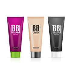 Realistic 3d empty template bb cream tubes package vector