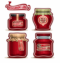 redcurrant jam in glass jars vector image