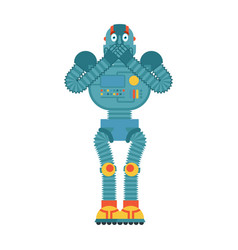 robot scared omg cyborg oh my god emoji vector image
