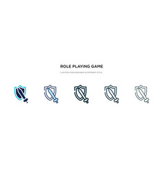Role playing game icon in different style two vector