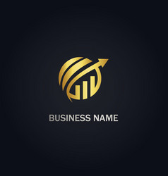 round business graph arrow gold logo vector image