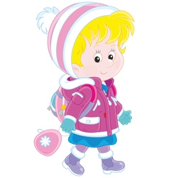 Schoolchild in winter clothes vector