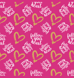 Seamless pattern from hearts on pink vector