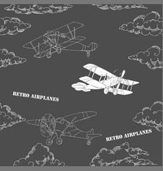 Seamless pattern with clouds and airplanes vector