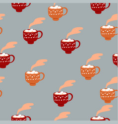 seamless pattern with cups hot cocoa vector image