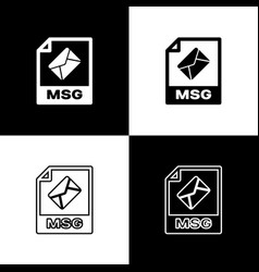 Set msg file document icon download msg button vector
