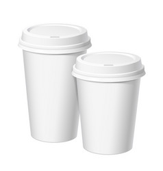 set of realistic paper white disposable cups with vector image