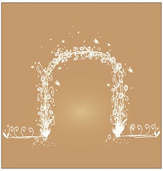 Shaped vine with white flowers vector
