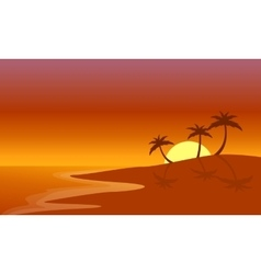 Silhouette of beach and palm at sunrise vector