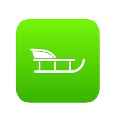 Sled icon digital green vector