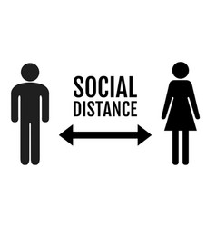 Social distance banner with persons man and woman vector