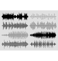 Sound music waves set Musical pulse or vector