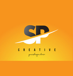 Sp s p letter modern logo design with yellow vector