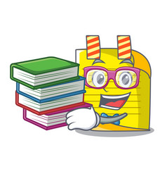 student with book mascot note paper with bookmark vector image