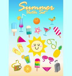 summer set cartoon vector image